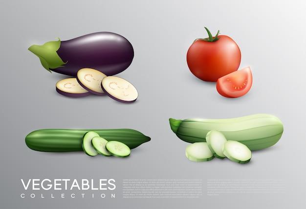 Conjunto realista de vegetais frescos