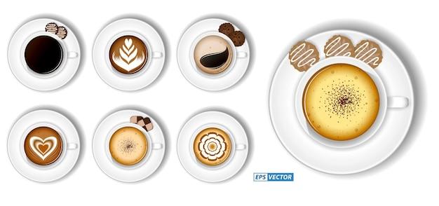 Conjunto realista de xícara de café cappuccino com leite isolado ou vista superior de variedade de xícaras de café