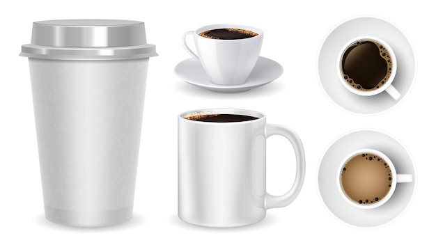 Conjunto realista de xícaras de café