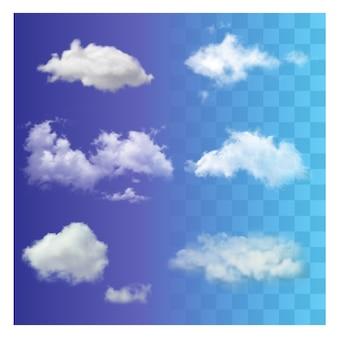 Conjunto realista diferentes nuvens de céu branco transparente.