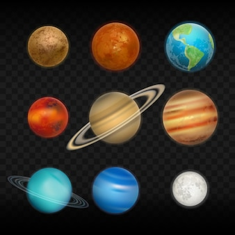 Conjunto realista do sistema solar