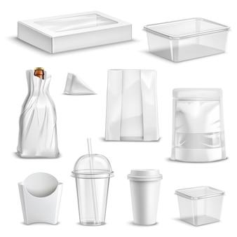 Conjunto realista em branco de embalagens de alimentos