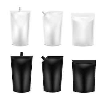 Conjunto realista em preto e branco em branco doy pack. modelo doypack embalagem com e sem tampa de rosca.