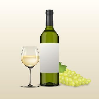 Conjunto realistas verdes garrafas de vinho