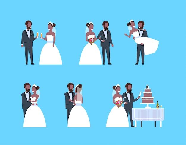 Conjunto recém casado homem mulher em pé juntos diferentes poses coleção casal noiva e noivo no amor dia do casamento conceito comprimento total horizontal plana