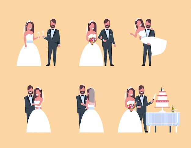 Conjunto recém casado homem mulher em pé juntos diferentes poses coleção casal romântico noiva e noivo no amor dia do casamento conceito comprimento total horizontal
