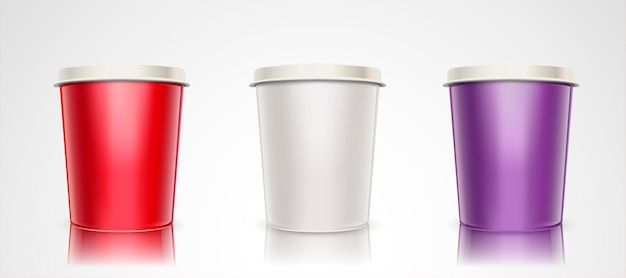 Conjunto recipiente de iogurte ou sorvete, copo de papel