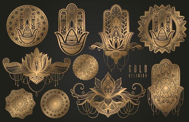 Conjunto religião budismo boho sinal ouro. hamsá, mandala, lótus.