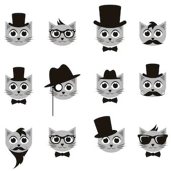 Conjunto retrô cavalheiro e gatos hipster