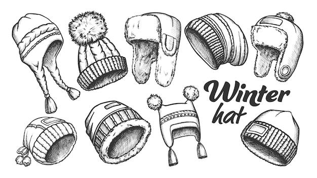 Conjunto retrô de acessórios de roupas de chapéu de inverno