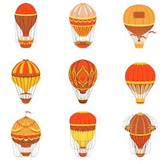 Conjunto retro de balões de ar quente