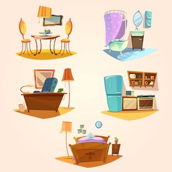 Conjunto retrô de desenhos animados interiores