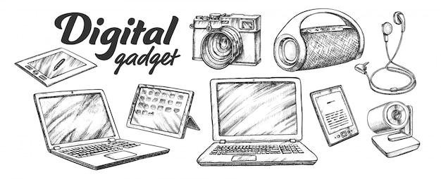 Conjunto retrô de gadgets de áudio e vídeo digital