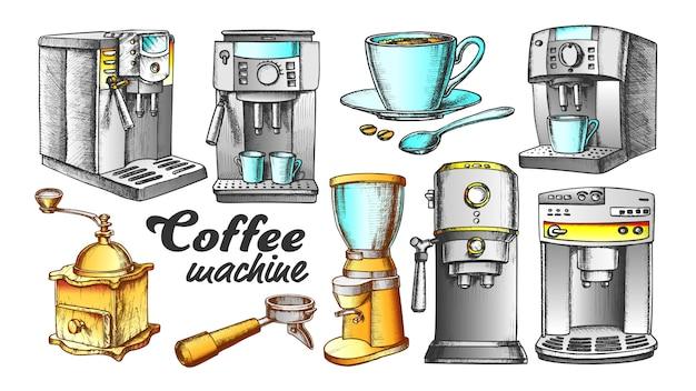 Conjunto retro de máquina de café, suporte e copo