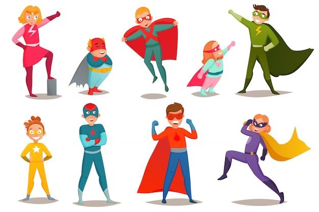 Conjunto retrô de super-heróis de crianças