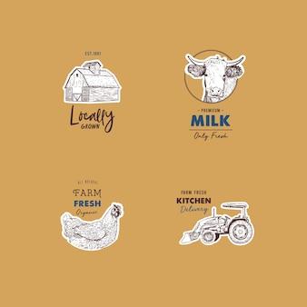 Conjunto retrô de vetor de logotipos frescos de fazenda.