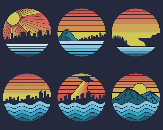 Conjunto retro shoreline sunset