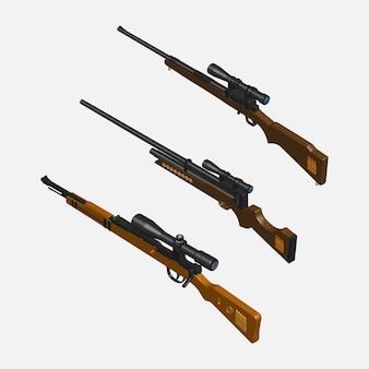 Conjunto rifle sniper 3d