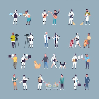 Conjunto robô e humano em diferentes situações personagem robótico vs pessoas inteligência artificial tecnologia concorrência conceitos coleção comprimento total
