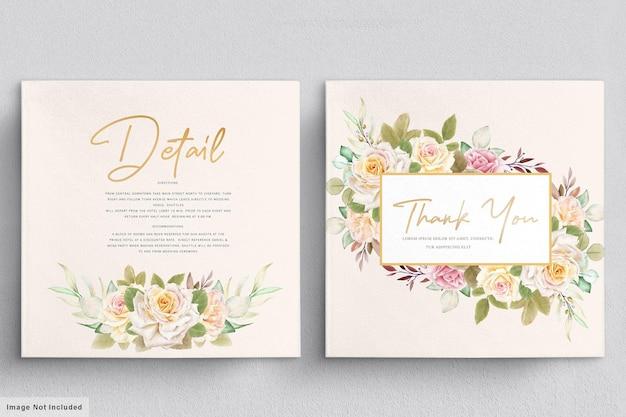 Conjunto romântico de cartão de casamento em aquarela de rosas brancas