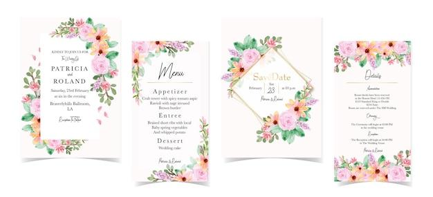Conjunto romântico de convite de casamento floral rosa amarelo