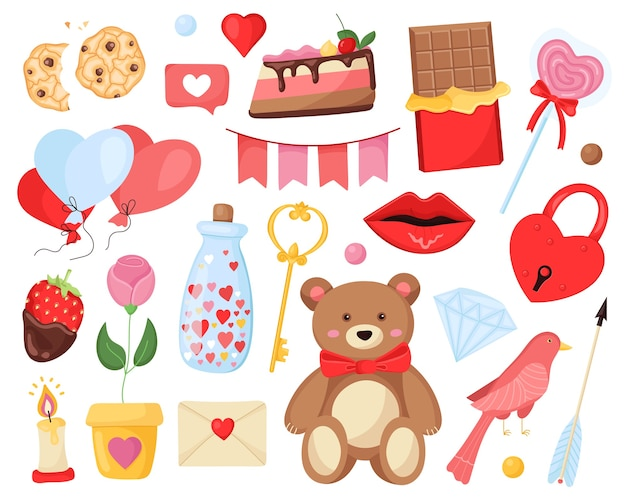 Conjunto romântico de elementos bonitos para o dia dos namorados e casamento.