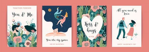Conjunto romântico de ilustrações fofos para o dia dos namorados e outros usuários.