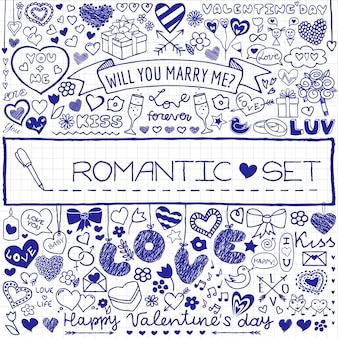 Conjunto romântico de rabiscos