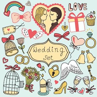 Conjunto romântico em estilo cartoon. coleção de casamento