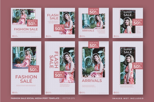 Conjunto rosa de mídia social de venda de moda instagram post
