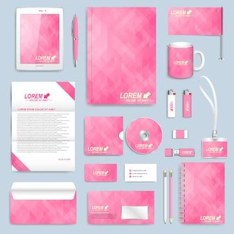 Conjunto rosa de modelo de identidade corporativa do vetor.