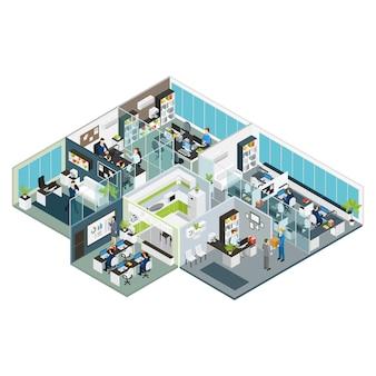 Conjunto sala escritório isométrico