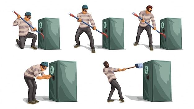 Conjunto seguro de banco de abertura de ladrão