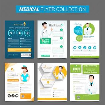 Conjunto, seis, criativo, flyers, ou, modelo, desenho, saúde, médico, conceito