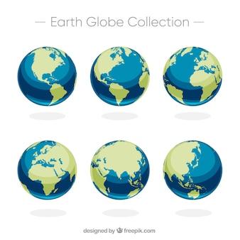 Conjunto, seis, terra, globos