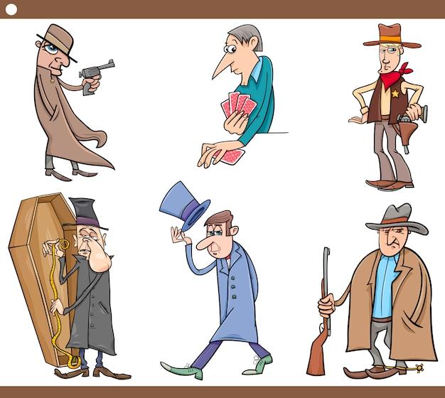Conjunto selvagem de desenhos animados de pessoas ocidentais