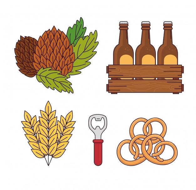 Conjunto, sementes hop, cervejas em caixa de madeira, picos, abridor de cerveja e pretzel