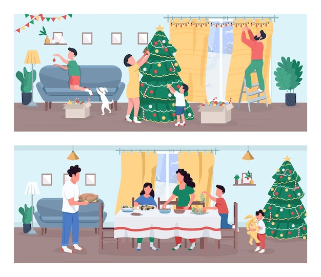 Conjunto semi plano de celebração de natal. ano novo em casa. atividade de decoração de casa para o natal. jantar de feriado. família de personagens de desenhos animados 2d para coleção de uso comercial