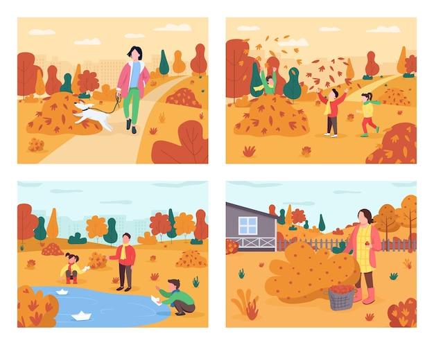 Conjunto semi plano de recreação de outono. atividade familiar de outono. as crianças brincam na pilha de folhas. proprietário de animal de estimação com cachorro. pessoas em férias personagens de desenhos animados 2d para coleção de uso comercial