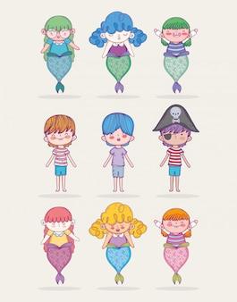 Conjunto, sereia, mulheres, com, pirata, e, meninos