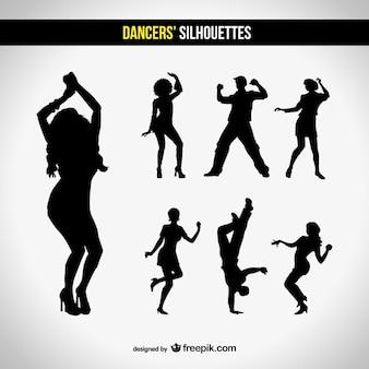 Conjunto silhuetas clube de dança