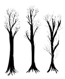 Conjunto simples de 3 vetor desenho à mão, esboço, silhueta da árvore grande morta