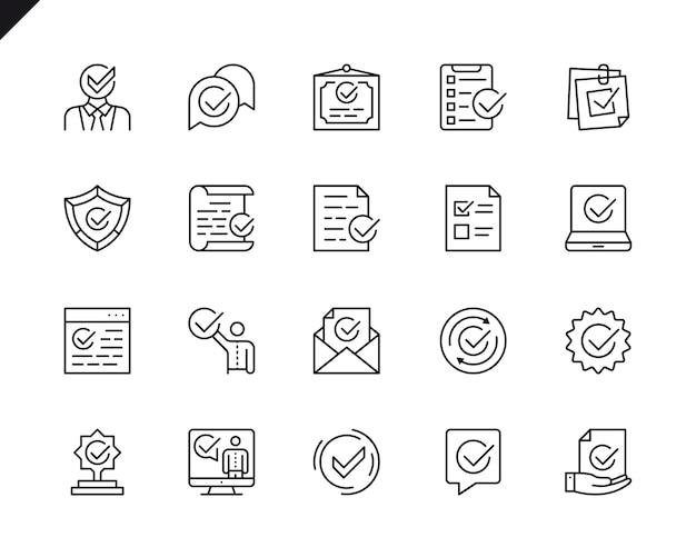 Conjunto simples de aprovar relacionados com ícones de linha do vetor.