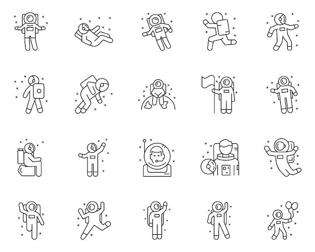 Conjunto simples de astronautas relacionados com ícones de linha do vetor