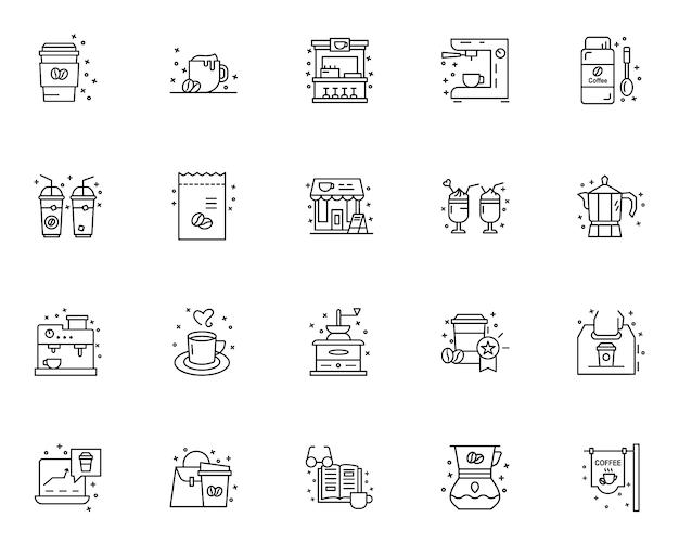 Conjunto simples de café relacionados com ícones no estilo de linha