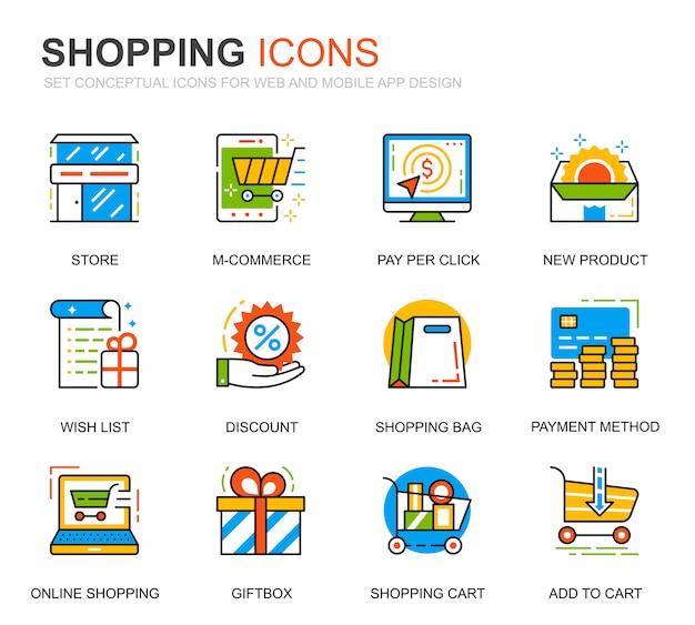 Conjunto simples de compras e ícones de linha e-commerce para o site