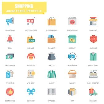 Conjunto simples de compras relacionados vetor plana ícones