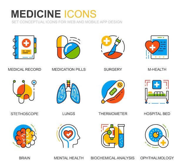 Conjunto simples de cuidados de saúde e medicina linha ícones para site