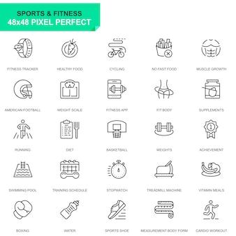 Conjunto simples de desporto e ícones de linha de fitness