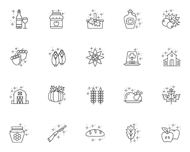 Conjunto simples de dia de ação de graças relacionados com ícones no estilo de linha